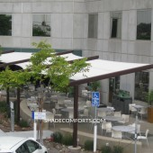 Cantilevered Sails Shade Corporate Patio